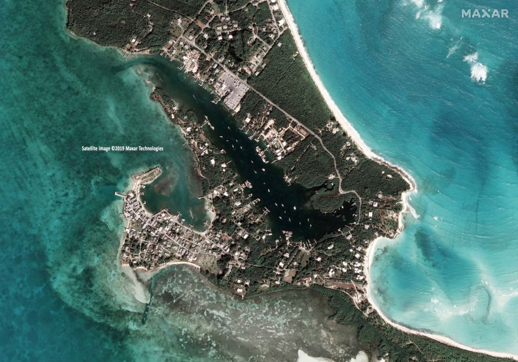 Bahamas, New Plymouth, Green Turtle Cay, Aufnahme vom 29. Janaur 2019 / Satellite image ©2019 Maxar Technologies