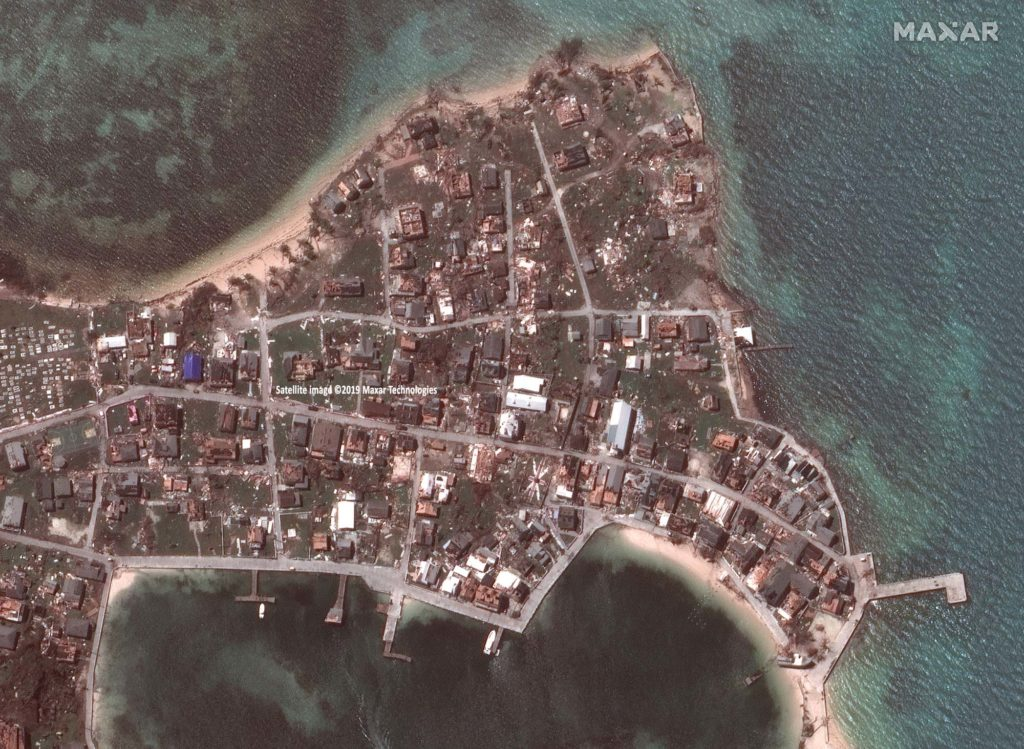 Bahamas, New Plymouth, Green Turtle Cay, Aufnahme vom 5. September 2019, nach dem Hurrikan Dorian / Satellite image ©2019 Maxar Technologies