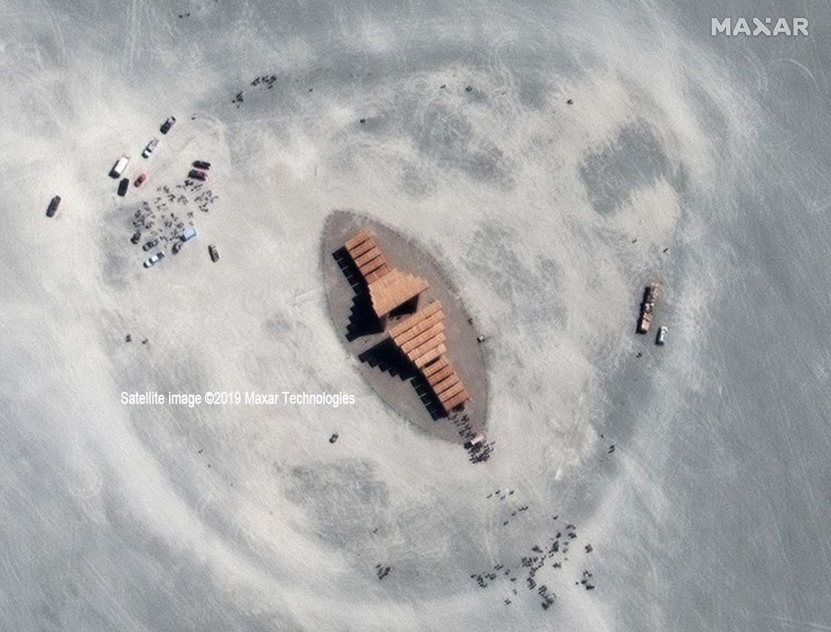 Burning Man 2019 - Temple of Direction / Satellite image ©2019 Maxar Technologies