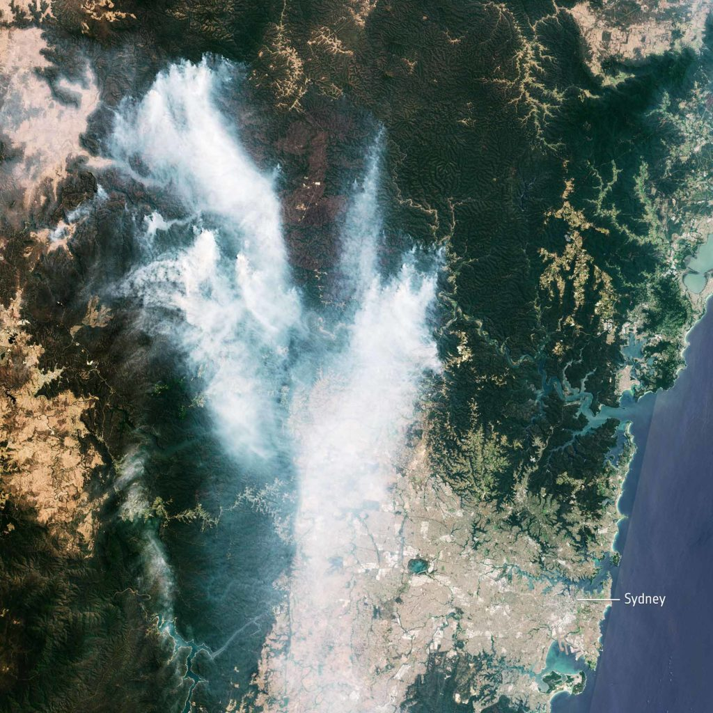 Buschfeuer in Australien. Aufnahme vom 21. November 2019 / Credits: contains modified Copernicus Sentinel data (2019), processed by ESA, CC BY-SA 3.0 IGO / https://creativecommons.org/licenses/by-sa/3.0/igo/deed.de