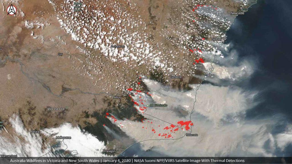 Buschfeuer in Australien, in Vitoria und New South Wales, Aufnahme vom 4.1.2020 / Image credit: NASA