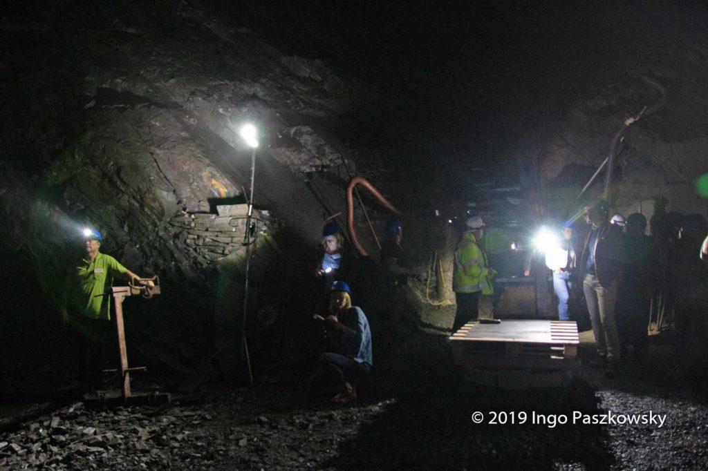 Schieferbergwerk Lotharheil. Die Kameras haben so ihre Mühe, im Bergwerk vernünftige Aufnahmen zu machen / Foto: Ingo Paszkowsky
