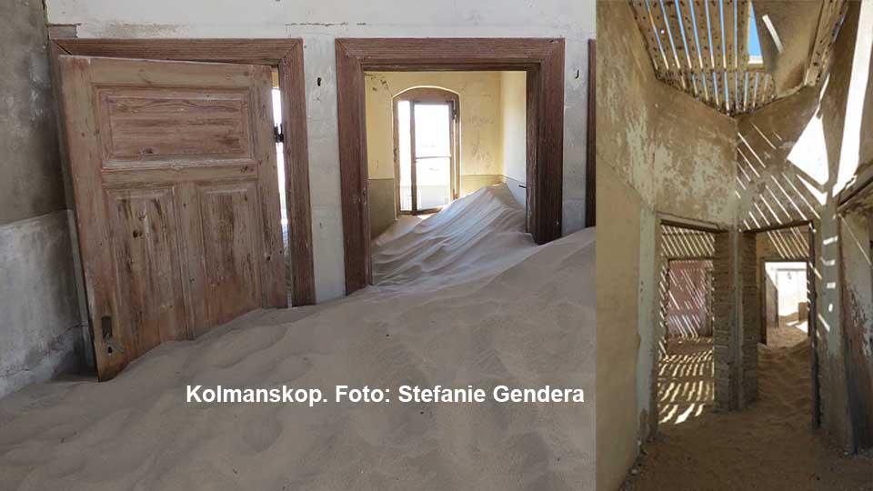 In Kolmanskop ergreift der Sand Besitz von den ehemaligen Häusern der Minen-Angestellten. Foto: Stefanie Gendera