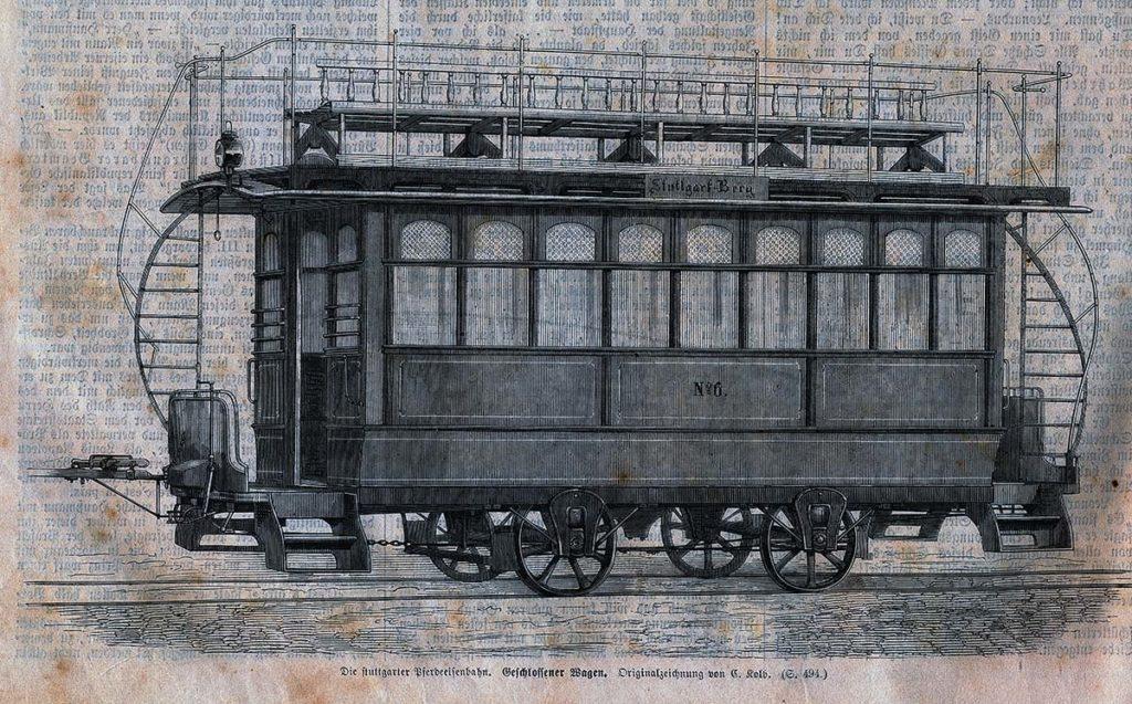 Die Stuttgarter Pferdeeisenbahn. Geschlossener Wagen.