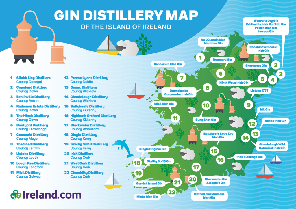 """Entwickelt von Tourism Ireland, zeigt die illustrierte Übersichtskarte 22 Destillerien für Gin-Expeditionen in allen Ecken des Landes. Die """"Gin Distillery Map"""" listet die ultimativen Lokationen in einem Land, das traditionell bereits wegen seines exzellenten Whiskeys bekannt ist. Sie hilft nicht nur privaten Gin-Freunden, sondern auch Veranstaltern und professionellen Verkostern bei der Orientierung, um Irish Gin in den diversen Regionen und Grafschaften selbst zu entdecken und zu probieren."""