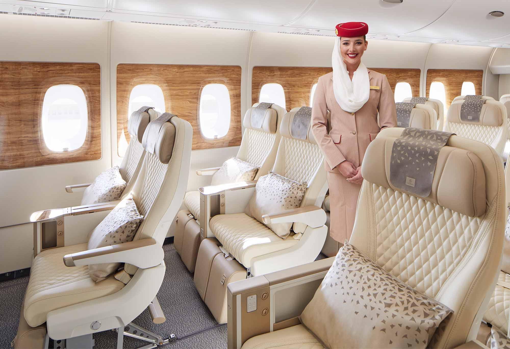 Premium-Economy-Kabine in den neuen A380-Flugzeugen von Emirates / Foto: Emirates