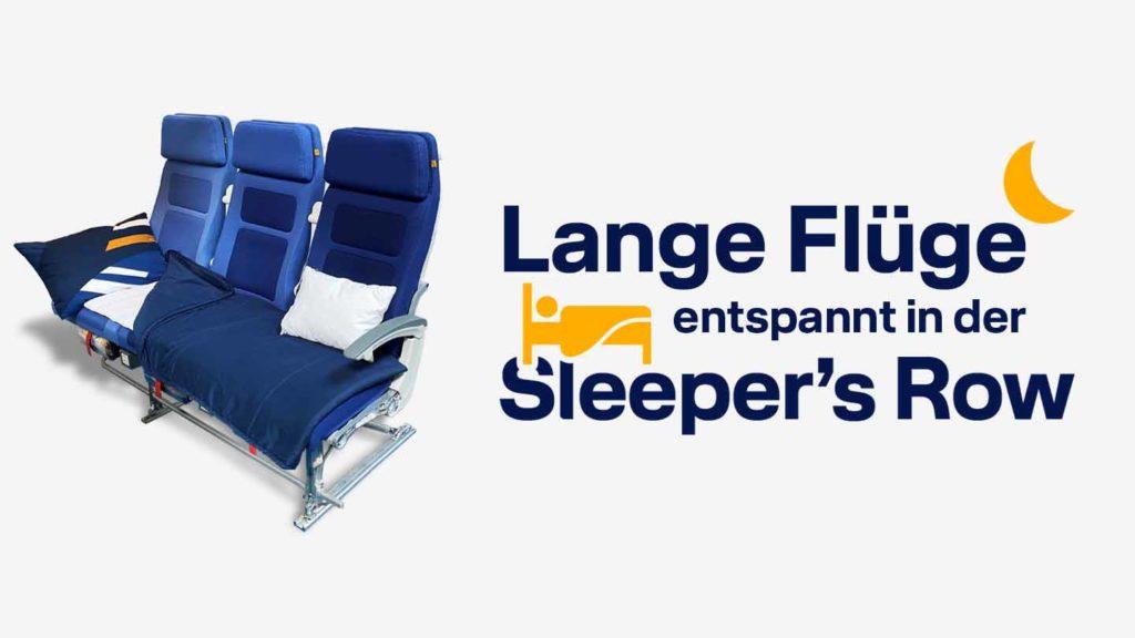 Sleeper's Row: Die Lufthansa bietet seit 2. August 2021 auf extra-langen Langstrecken derartige Schlafreihen an. / Grafik: Lufthansa