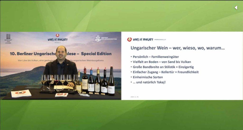 Die 10. Berliner Ungarische Weinlese im vergangenen Jahr war virtuell, die Weine aber real, weil alle Teilnehmer vorab eine Lieferung mit den elesenen Tropfen erhielten / Screenshot