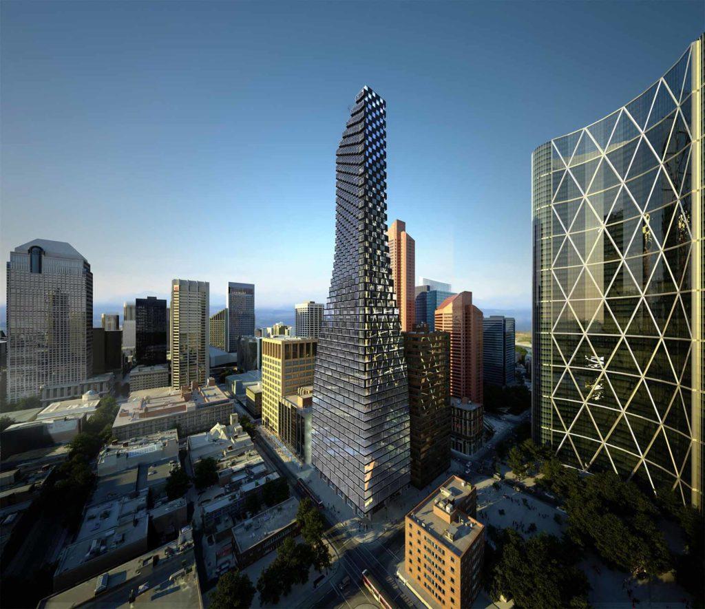 """2. Platz Emporis Skyscraper Award, Gebäudename: TELUS Sky, Ort: Calgary, Kanada, 222 Meter Höhe, 59 Etagen, Architekten: BIG; Dialog. Derzeit das dritthöchste Gebäude in Calgary, Kanada. Der Wolkenkratzer wird nachts durch eine künstlerische LED-Lichtinstallation beleuchtet. Die Entwickler von TELUS Sky streben eine LEED-Platin-Zertifizierung für das Bürogebäude an. TELUS Sky ist nach dem Mieter """"Telus Communications"""", einem kanadischen Telekommunikationsunternehmen, benannt. / Copyright BIG"""