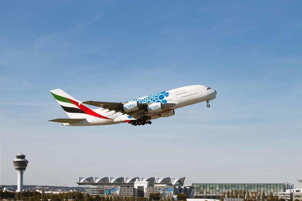 Emirates A380 mit der Expo-Lackierung am Flughafen München / Foto: Flughafen München