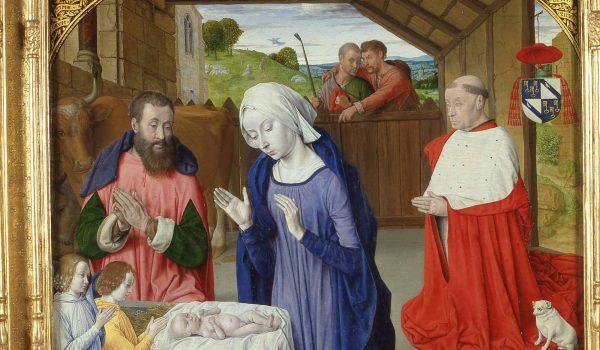 Geburt von Kardinal Rolin, Jean Hey, Öl auf Holz, 72,5 x 90,5 x 2,5 cm, Um 1480 Autun, Rolin-Museum Inv. H.V. 87 / Copyright Musée Rolin, Autun