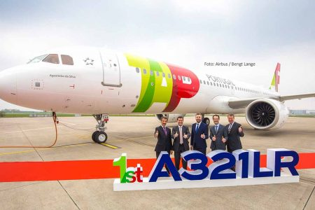 Übergabe der ersten A321LR von Airbus an TAP Air Portugal Anfang April 2019. Foto: Airbus / Bengt Lange